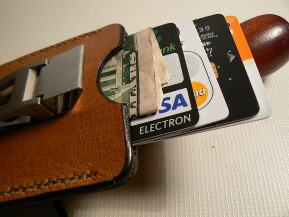 Moneyclip Wallet Brown , Mens Wallet, Money Clip Card Holder, Leather Moneyclip