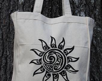 Sun Tribal Tattoo Design Grocery Tote Bag -  Screen Printed Original Design