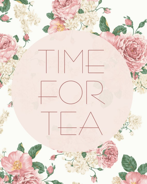 Time For Tea Vintage Floral 8x10 Digital Art Print Download