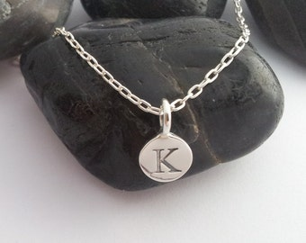 solid STERLING silver letter K round alphabet charm , personalise your jewellery with quality letters