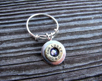 Expandable Bullet Ring- Birthstone Ring- Ammo Ring- Bullet Jewelry- Eco Friendly- Adjustable- Silver- Trendy-