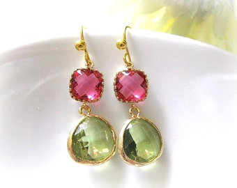 Fuchsia Olivine Earrings, Pink Green Earrings, Fuchsia And Olivine Glass Drop Earrings, Bridal Earrings, Bridesmaid Earrings, Wedding Gift