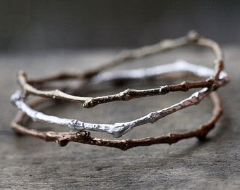Set of 3 Twig Bangle Bracelets in Sterling Silver, Red Bronze and Gold Bronze, Branch Bangle Set, Whimsical Twig Bangles, Nature Branches
