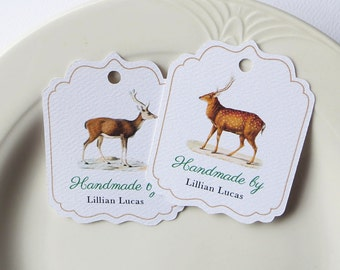 Personalized Gift Tags, Custom Hang Tag, Vintage Reindeer, Deer, Buck, Product Label, Personalized Christmas Tags - Set of 20