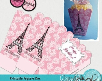 Dreaming of Paris Party Printable Popcorn / Favor Box - 300 DPI