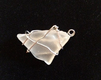 Free-form wire wrapped opaque glass pendant
