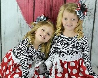 2 Piece Zebra Ruffle Pants Set Valentines Day