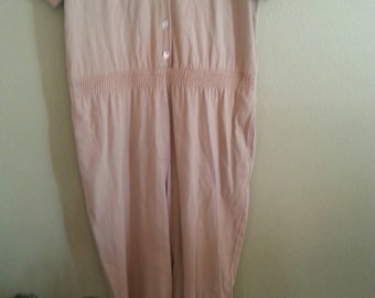 Sale  Beige Cotton Short Sleeve Jumpsuit by CMI Size XL Tall Made in USA Cotton