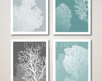 Underwater Sea Coral Home Decor Art Prints 8x10 Customizable Set of 4