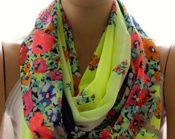Neon yellow flowers scarf, scarves, woman scarf, accessories, neon accessories, flowers scarves, women accessories, circle scarf, gift idea