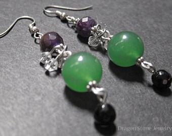 Amethyst Avenrurine and Onyx Dangle Earrings