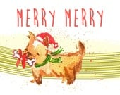 Christmas Pups Set of 5 A2 Greeting Cards with Envelopes