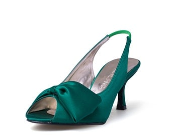 Green Wedding Heels, Green Satin Wedding Heels. Custom Made Wedding Heels, Green Bridal Heels