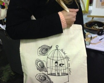 Original 'evelynarts design', screen printed canvas bag, made in Manchester, UK