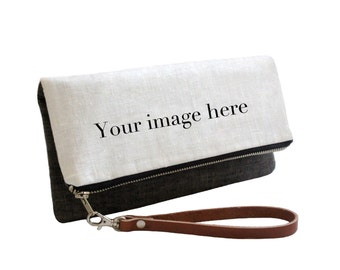 Personalized Photo Clutch with Leather Wrist Strap- Foldover Clutch with Custom Photo or Artwork