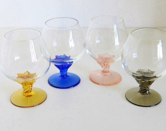 Vintage Coloured Glasses Small Brandy Liquor Digestif Glasses Set of Four with Amber Pink Blue and Grey Twisted Stems 1960's