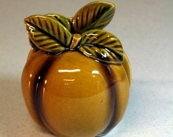 Japan-ceramic napkin holder-golden apple-vintage kitchen