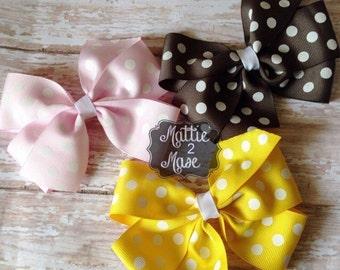Pinwheel Hair Bows, Polka Dot Bows for Toddler Girls, Large Hair bows, Girls Hairbows, Big Bows for Girls, Birthday Gift Set for Girls,