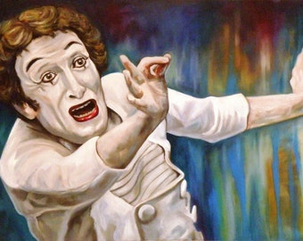 Portrait Marcel Marceau Fine Art Painting Original Oil Painting size 20-20 inches or 50cm-70 cm