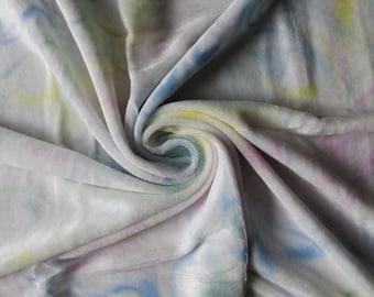 Pink, blue, green, yellow swirl dyed organic bamboo velour diaper cut 24x24