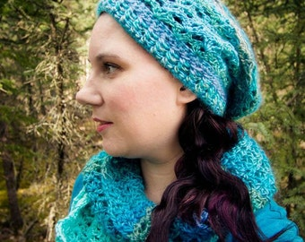 Hat and Scarf Pattern: PDF pattern for slouch hat and scarf