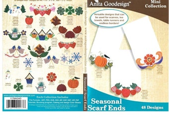 Seasonal Scarf Ends Anita Goodesign Embroidery Designs