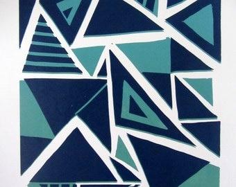 Shatters Geometric Linocut Print