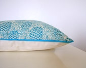 """Cushion """"Turquoise pineapple, ecru and turquoise piping"""""""