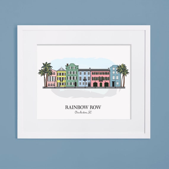 Items similar to charleston sc rainbow row illustration for T shirt printing charleston sc