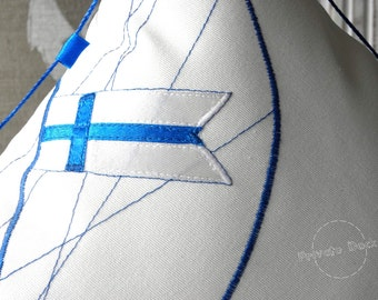 SALE -20% Nautical Pillow Finnish Yacht with Flag Nautical Art! Luxury White Home Decor. Spectacular gift for Sailor!