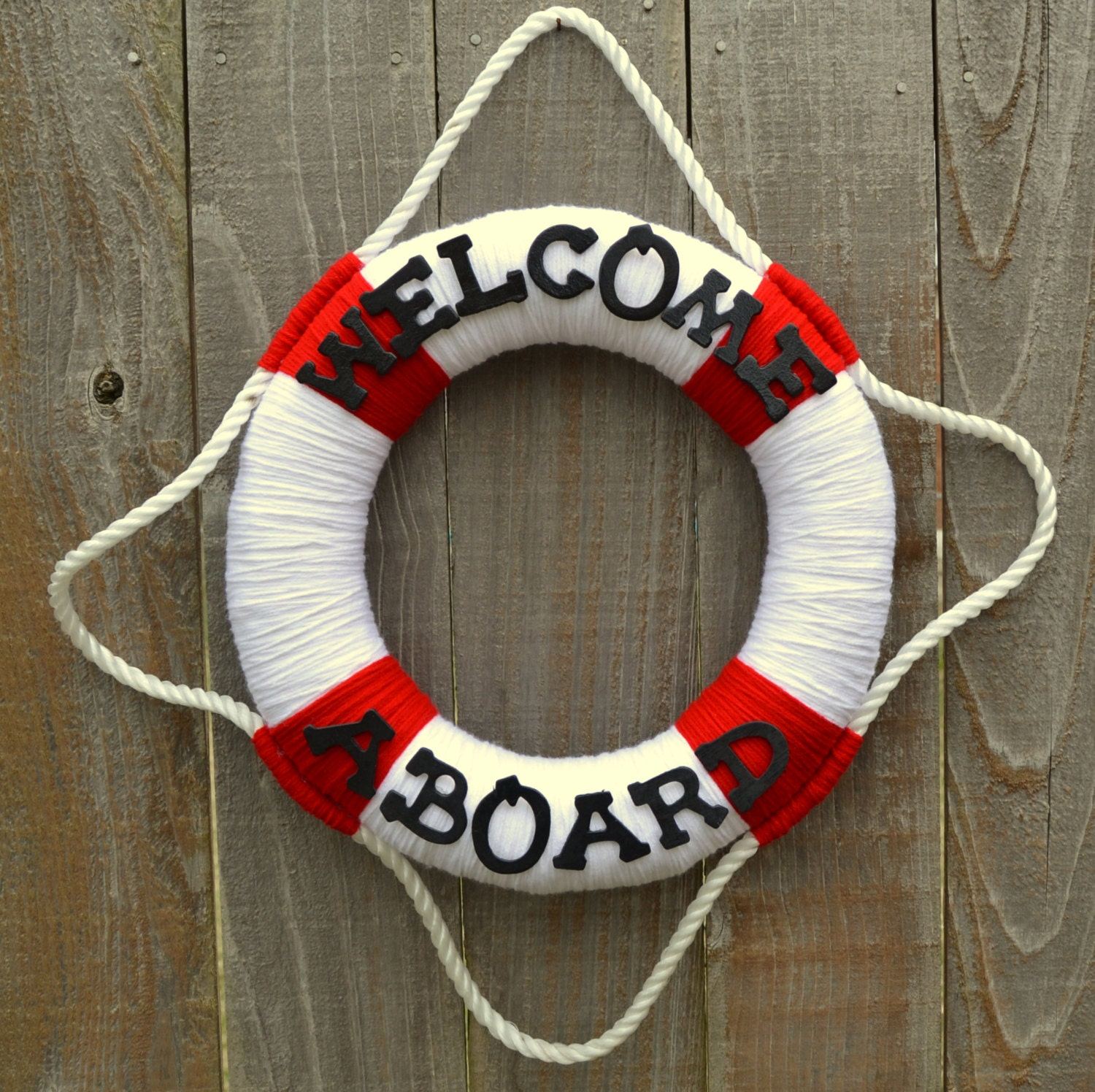 Welcome aboard boat ships life ring clock -  Zoom