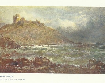 Criccieth Castle Gwynedd North Wales colour print by Edwin Hayes 1900 Print Wall Art Home Decor Vintage Print Antique Print