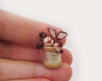 OOAK Micro Miniature Fairy on a Spool ~ Fairy Handmade Sculpture Michele Roy