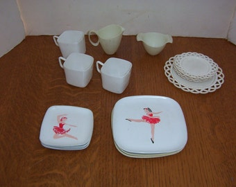 Mixed Vintage Lot of Plastic Doll Dishes Ballerina