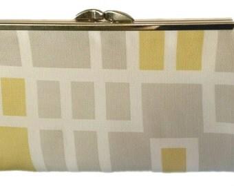 Joleen Yellow & Gray Clutch Purse