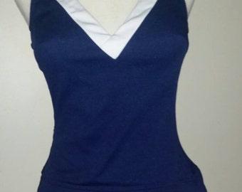 Roxanne Perfection Fit Vintage Swimsuit Retro Bathing Suit 34 8 10 Navy Swim dress