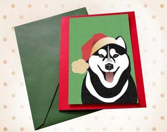 Dog Christmas card Husky