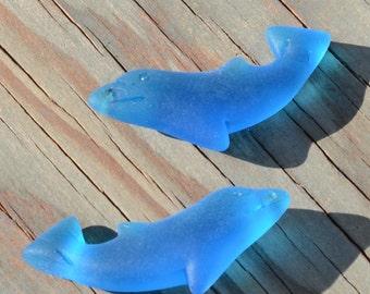 2 pcs (34X14mm) Dolphin DK Pacific Blue Cultured Sea Glass Beach Glass Pendant Beads - 2 Pieces