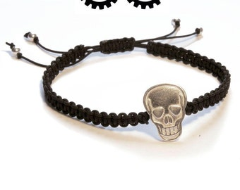 Bracelet Unisex macrame with skull and spheres of silver - spectacles
