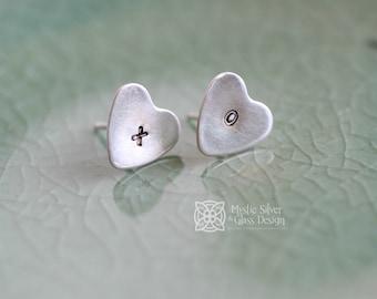 Tiny Stud Earrings, Silver Heart XO Post Earrings
