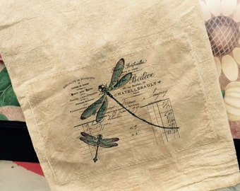 Dragonfly Vintage Invoice 100% cotton Flour sack tea towel
