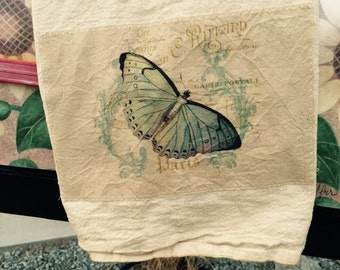 Beautiful French butterfly 100% cotton flour sack tea towels