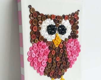 Button Art, Animal, Owl, Purple, Canvas, 8x10