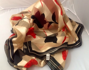 FREE Shipping Vintage 80s Bill Blass Scarf with Tulip Design