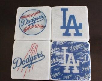 Dodgers Marble Coaster Set