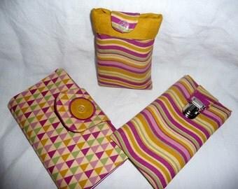 Set of case : checkbook, smartphone, tissue