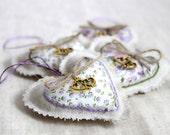 Linen heart ornament - romantic lavander hearts - pack of 4 - ready to ship.