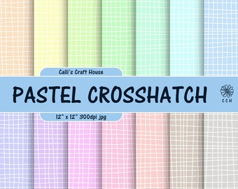 Pastel Crosshatch Digital Papers - 14 soft pastel backgrounds - hand drawn crosshatch background pattern - Commercial Use - Instant Download
