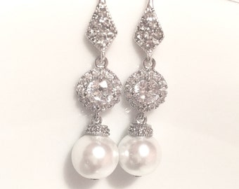 Pearl Bridal cz Earrings,cubic zirconia wedding earrings,tear drop earrings,pearl earrings, bridesmaid earrings,bridesmaid gift,pearl bridal