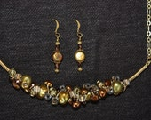 Gold and Copper Pearl Necklace and Earring Set